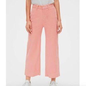 Gap pink high rise wide leg crop corduroy pants 2